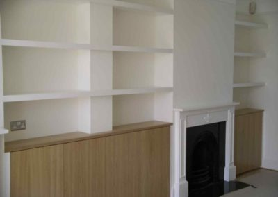 carpentry example shelving in living room